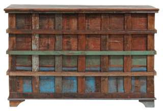 Vintage Multi colored Storage Trunk spectacular Reclaimed wood