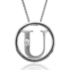 Sterling Silver Alphabet Initial Letter U Diamond Pendant Necklace (HI