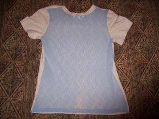 Victorias Secret Pink 03 Grey Blue Lace T Shirt Spandex