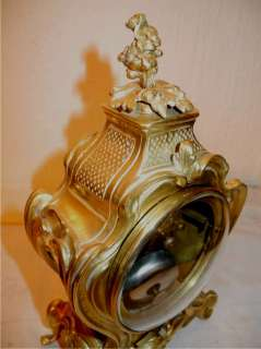 Antique Waisted Gilt BRONZE CLOCK Barbedienne DESK CLOCK c1860 NoRes