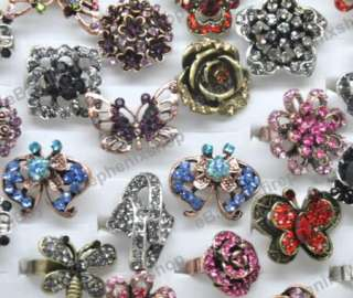 wholesale mixed lots 10 crystal rhinestone Cocktail jewelry Rings