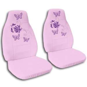 sweet pink seat covers with purple butterflies for a 2000 VW Beetle