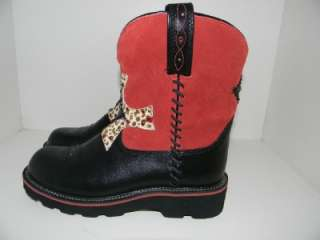 NWT Ariat Fatbaby Womens Gem Baby Knight Red Suede Black Leather