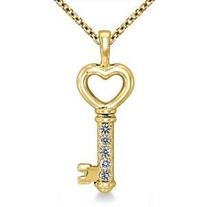 14K Yellow Gold Love Key Diamond Pendant (1/4 cttw