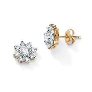 Lux Tutone 10k Gold Cubic Zirconia Flower Pierced Earrings
