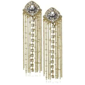 Leslie Danzis Gold And Crystal Fringe Earrings Jewelry