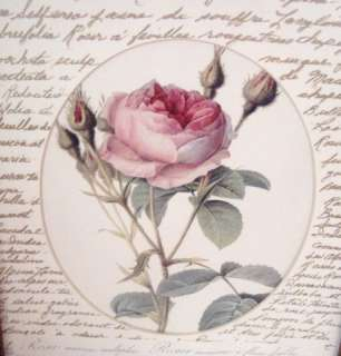 FRAMED w GLASS Vintage PINK ROSE & French Script Print
