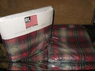 New RALPH LAUREN Red Granger Plaid QUEEN Flat Sheet & Full Flat Sheet