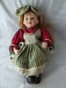 SFC Ashley Bell Porcelain Doll Reddish Brown Hair Red Green Dress