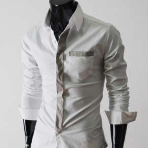 TSH) Mens slim fit tie patched pocket shirts WHITE