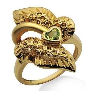 Womens Green Peridot Gemstone Heart Wings Cocktail Ring Band Jewelry