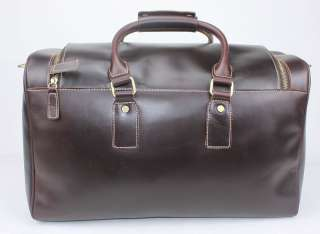 Handmade Mens Thick Genuine Leather Travel Case Bag Duffle Messenger