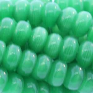 Green Cats Eye Rondell Plain   8mm Height, 5mm Width, Sold by 15