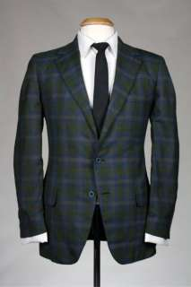 Vintage 60s Towncraft Penneys Green Plaid Wool Blazer/Jacket 40 S