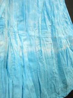 NEW SUMMER BOHO PEASANT LIGHT BLUE WHITE TIE DYE LONG SKIRT FREE SIZE