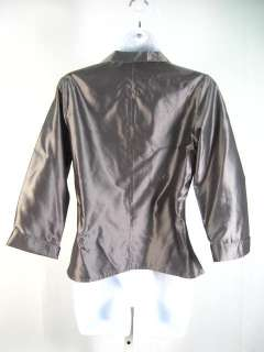 COLLECTION MIN LEE Gray Silver Silk Blouse Shirt Sz S