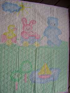 Baby Quilt Blanket Pastel Teddy Bear Rabbit Duck Boat Pink Green
