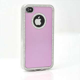 Light Pink Bling Aluminium Diamond Case Cover iPhone 4 4S 4G