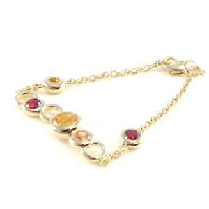 Gold plated bracelet Anémone red yellow. Jewelry