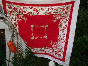 vintage red and white strawberry print cotton tablecloth 50x44