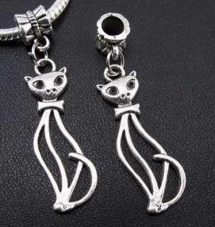 45pc Tibetan Silver Hollow Cat Bead Fit Bracelet f#22