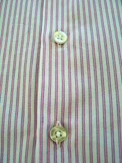 Thomas Pink Slim Fit White Pink Stripe Dress Shirt 16.5 32/33