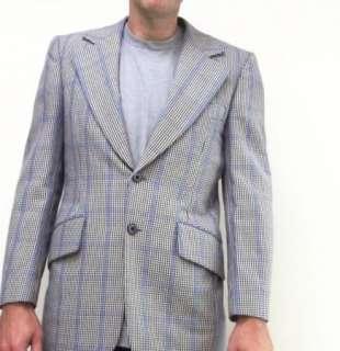 60s 70s Vintage Blue Plaid Tom James Photometric Sportcoat Jacket