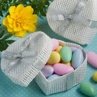 120 White Mesh Heart Shaped Box Wedding / Bridal Shower Favors