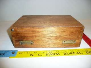 wood wooden box purse with tongue and groove leather strap vintage