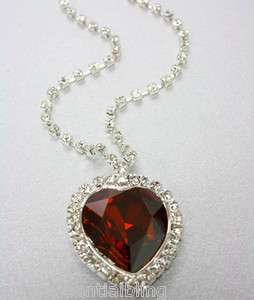 Red Swarovski Heart of the Ocean Titanic Necklace & Gift Box