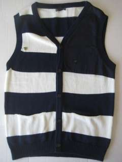 MENS CORPUS VEST BLUE WHITE STRIPE*NEW*SIZE L