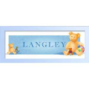 Three cuddly teddy bears with their toys. Baby Gift, Personalized name
