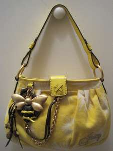 JUICY COUTURE YELLOW VELOUR HANDBAG WITH BUMBLE BEE DECOR