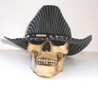 NEW MENS RODEO COWBOY BLACK PIN STRIPE WESTERN HAT