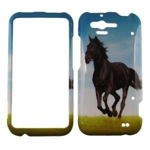 FOR HTC RHYME BLACK STALLION HORSE COVER CASE Cell Phones