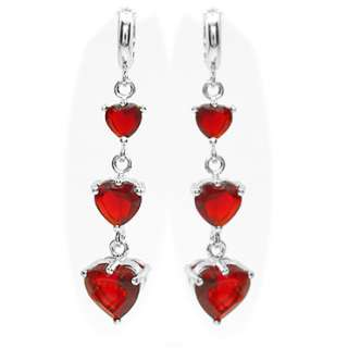 HEART CUT GARNET WHITE GOLD GP EARRINGS RUBY EARINGS