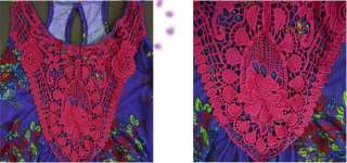 Lady Bohemian Ethnic Flower Tank Top Shirt Black L #TJ6