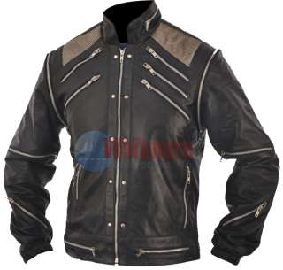 Michael Jackson Beat It Replica Black Original Leather Jacket   Silver