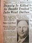 BEST 1933 TEXAS newspapers w Earliest headline of murder by outlaw