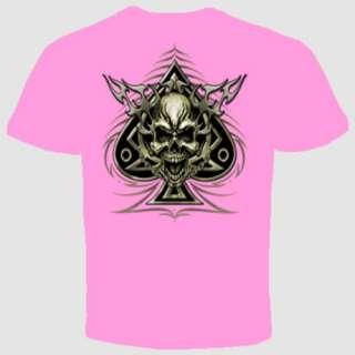 skull spade biker chained texas holdem poker t shirt