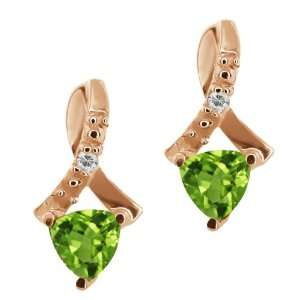 Trillion Green Peridot and Topaz Gold Plated Silver Earrings Jewelry