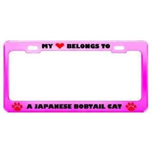 A Japanese Bobtail Cat Pet Pink Metal License Plate Frame