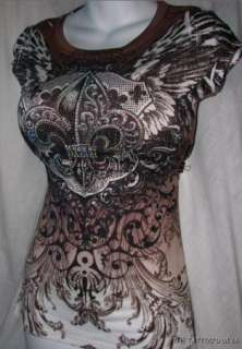 Sand Scroll TRIBAL CRYSTAL Angel Wing Fluer De Lis Top Tee S