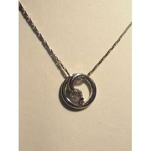 18k White Gold Plated Silver Pendant Jewelry w/ Chain (07