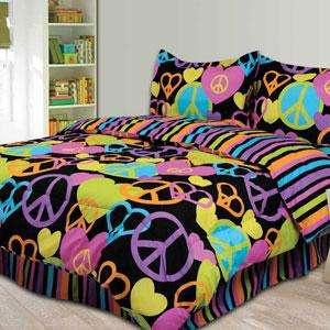 FULL Girls Teen Black Pink Purple PEACE SIGN HEARTS Comforter Bedding