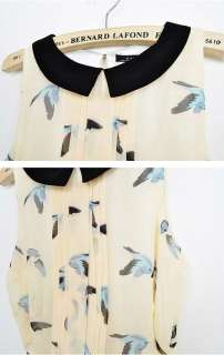 CONTRASTING COLLAR SLEEVELESS DRESS WITH BIRD PRINT 2409