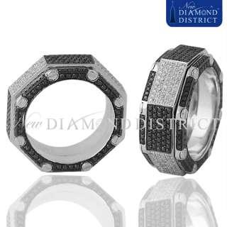 MENS 3.94CT TOTAL BLACK & WHITE DIAMOND BAND RING IN 18K WHITE GOLD