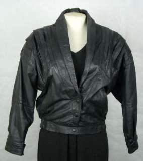 Vintage DAVIS FINA Womens Ladies Black LEATHER Coat Jacket size M