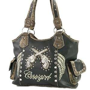 Black Western Cowgirl Rhinestone Pistol Gun Angel Wings Handbag Flat