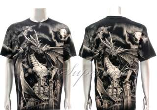 XXXL Rock Eagle T shirt Special Tattoo Skull Castle King Dragon Retro